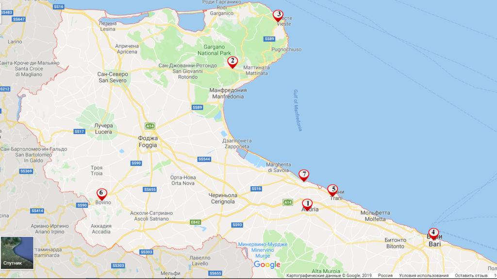 Достопримечательности Апулии на карте Италии
